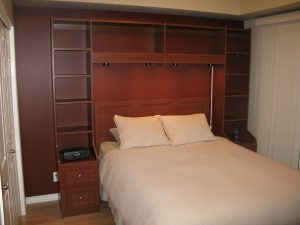 wall unit storage for around bedframe