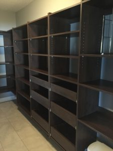 chocolate pantry storage with shelves and drawers