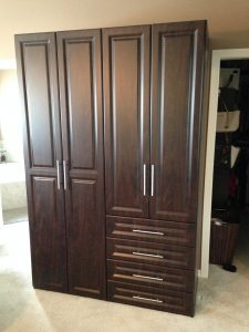 chocolate wardrobe with hanging and drawer storage