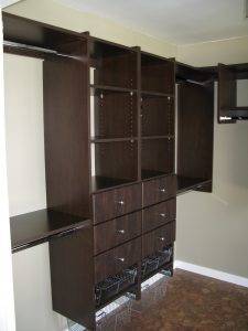 drawers and baskets in built in closet