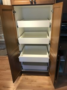 pantry storage with slide out drawers