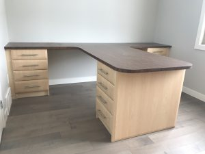 maple desk with dual workstations