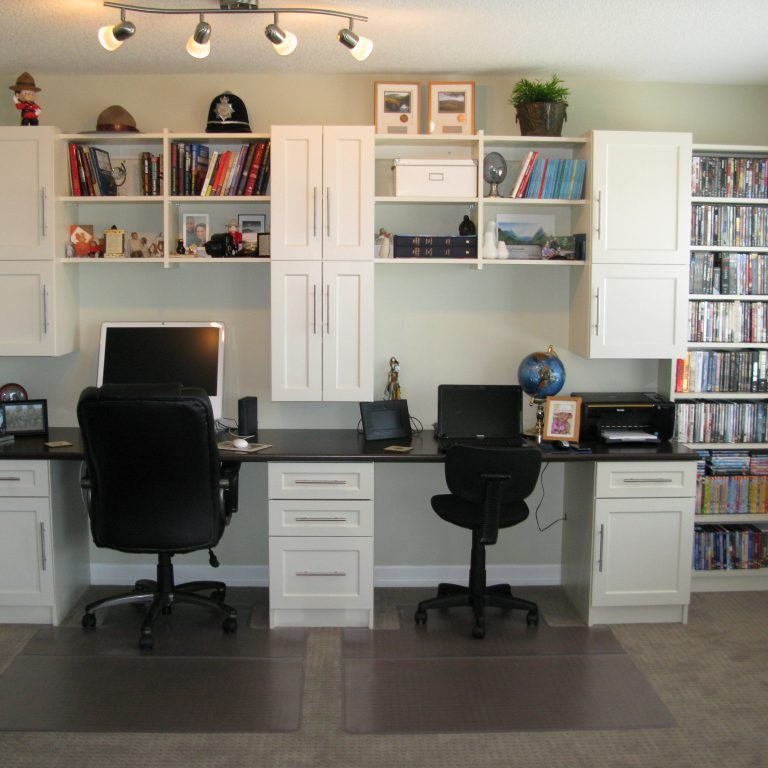 dual workstation built in home office