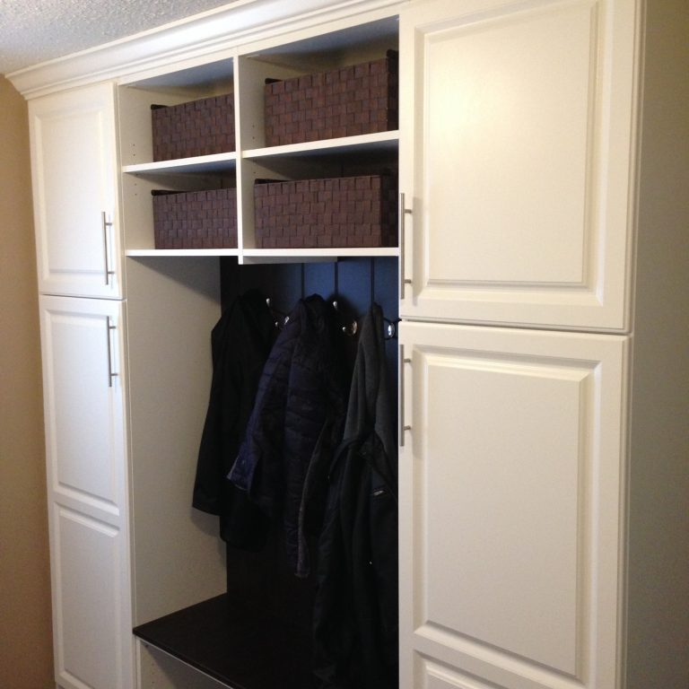 two tone mudroom storage